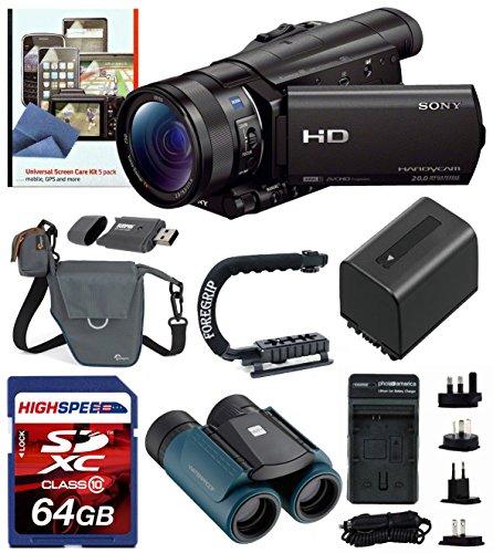 Sony Hdrcx900/B Video Camera With 3.5-Inch Lcd (Black) W/ Free Waterproof Binoculars 8X21, Foregrip Handle, Deluxe Kit 64Gb