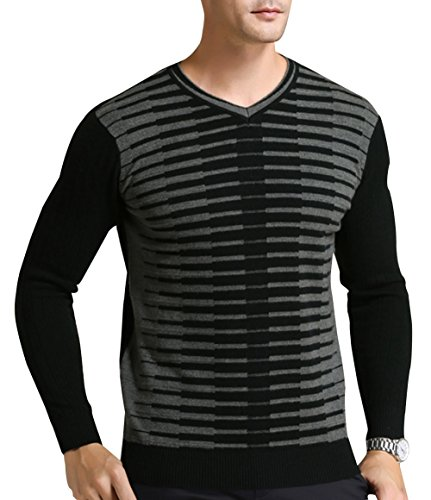 Zw Mens 100% Cashmere Long Sleeve Striped Crew Neck Pullover Sweater Black 3Xl