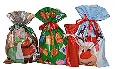 Giftmate 60-pc. Christmas Holographic Drawstring Gift Bag with Ribbon Inserted- 30 Gift Bags and 30 Gift Cards