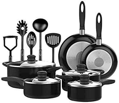 Nonstick OVEN SAFE 15 PCS Cookware Set PTFE PFOA Free Black