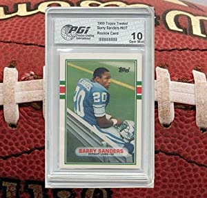 Barry Sanders 1989 Topps Traded Rookie Card PGI 10 Detroit Lions Hall of Fame by Topps