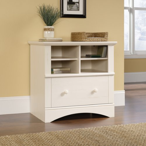 Harbor View Collection 1 Drawer Lateral Wood File Cabinet In Antique White back-984527