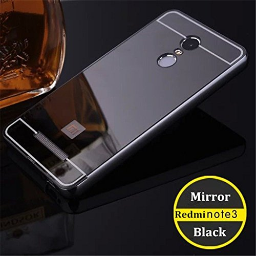 Kaira Luxury Metal Bumper Acrylic Mirror Back Cover Case For Xiaomi Redmi Note 3- Gold (Pure Black)