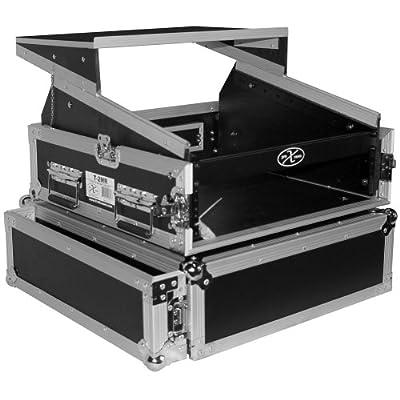 ProX Cases T-2MRLT 2 Space 10U Slant DJ Mixer Combo Rack w/ Sliding Laptop Shelf