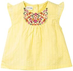 Infant Girls Butterfly Sleeves Blouse With Embroidery, Yellow (6-12 Months)