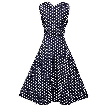 Creti Women's 1950s Vintage Halter Polka Dot V-Neck Sleeveless Swing Dress