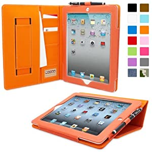 Snugg iPad 2 Executive Leather Case in Orange - Flip Stand Cover with Card Slots, Pocket, Elastic Hand Strap and Premium Nubuck Fibre Interior - Automatically Wakes and Puts the Apple iPad 2 to Sleep