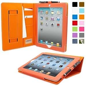 Snugg™ - Étui Professionnel Pour iPad 2 - Smart Case Pour iPad 2 Avec Compartiment Pour Cartes Et Une Garantie à Vie (En Cuir Orange) Pour Apple iPad 2