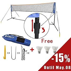 SoBuy SFN02 - L400cm Filet à Pieds, Réglable en Hauteur de Badminton, Tennis, Volley-ball, avec pied, bras, sac de transport et 3 volants gratuits !!