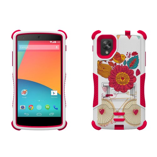 Beyond Cell Tri-Shield Durable Hybrid Hard Shell And Silicone Gel Case For Lg Nexus 5 - Retail Packaging - White/Pink