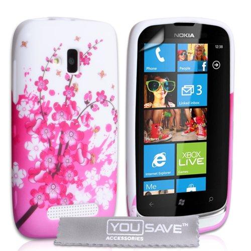 Handytasche Schutzhülle für Nokia Lumia 610, Silikon Blumen Biene Gel Schutzhülle Rosa/Weiß