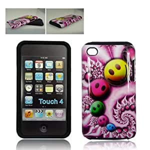 Apple iPod Touch iTouch 4G 4-G 4th Generation Purple Pink with Yellow Green Blue Psychedelic Smiley Faces Design Combo Dual Layer Hybrid 2-in-1 Snap-On Hard Protective Cover and Silicone Skin Soft Gel Case Cell Phone