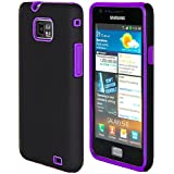 32nd® Dual hybrid rubber case cover for Samsung Galaxy S2 i9100 + screen protector, cleaning cloth and touch stylus - Purple