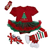 ANDI ROSE Baby-Girls Christmas TUTU Dress|Baby Bloomer|Hat Hairpin(4pcs) (Size S(0-3Months), Red)