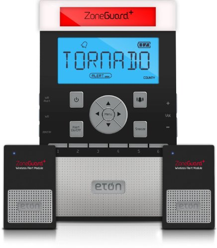 Eton ZoneGuard+ Weather Alert Clock Radio System with Wireless Alert Modules – Black (NZG200B)