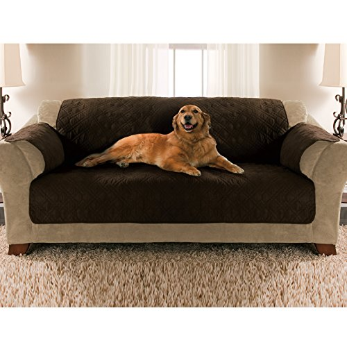 Yes Pets Sofa Size Quilted Micro Suede Furniture Protector, 109 by 69-Inch, Tan