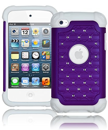 Bastex Heavy Duty Snap On Neon Purple Bling Case Cover for Apple iPod Touch 4 4th generation - Purple diamond on white Silicone