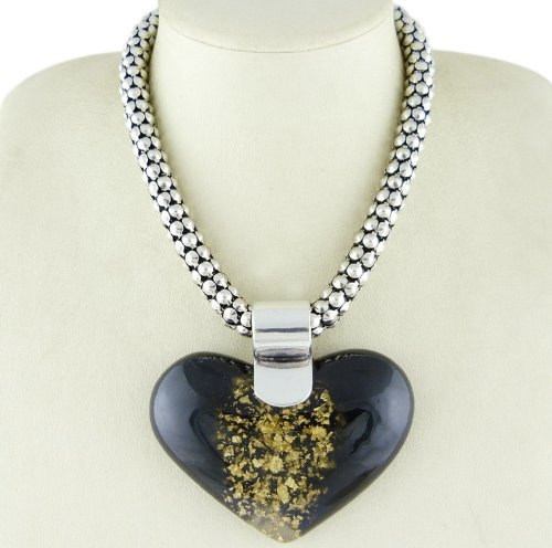 Vintage antique retro art deco inspired statement jewellery antique silver plate chunky, disc chain 'black n gold' heart' necklace pendant 3 1/2x 2 1/2'. 16' with 3' extender chain.