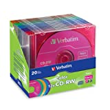 Verbatim 96685 700 MB 4x-12x 80 Minute Color Rewritable Disc CD-RW, 20-Disc Slim Case