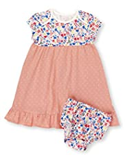 Pure Cotton Assorted Print Dress & Knicker Set