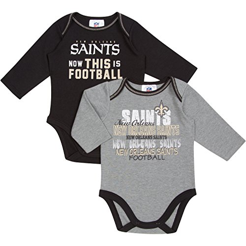 NFL New Orleans Saints Girls Long Sleeve Bodysuit (2 Pack), 3-6 Months, Black/Gray