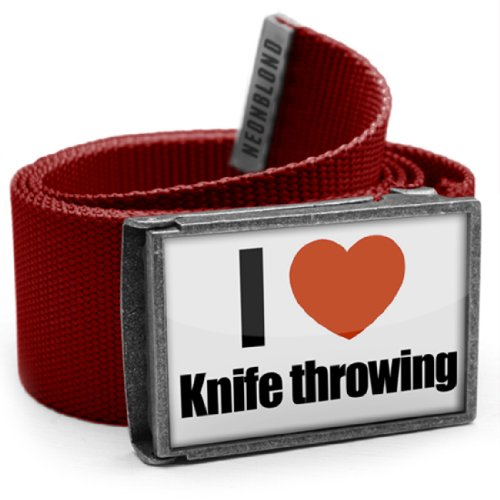 """Neonblond Belt Red """"I Love Knife Throwing"""" - With Buckle"""