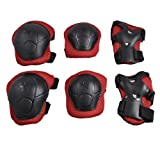 Como Children 3 in 1 Wrist Elbow Knee Safety Pad Support Gear Black Red