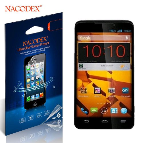 Nacodex® 6X Hd Clear Screen Protector Film For Boost Mobile Zte Max N9520 Lcd Cover Guard Shield [ 6Pcs Screen Protectors + 2X Cleaning Cloth + 1X Smoothing Card] [ W/Tracking No.]