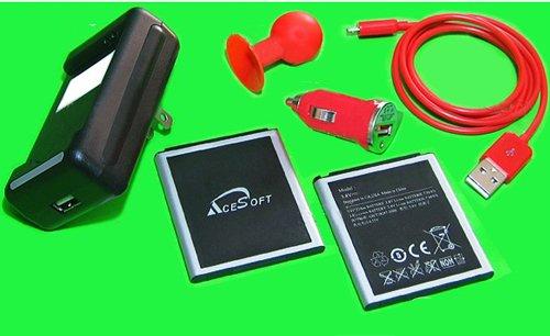 2x 3080mAh AceSoft Battery Mini Car Charger Travel