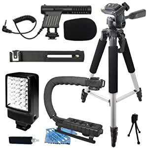 "Professional 57"" Tripod + Deluxe LED Video Light + Mini Condenser DSLR Camcorder Microphone + Camera Camcorder Action Stabilizing Handle Everything You Need Video Kit for Canon EOS Rebel 1D 5D Mark II III 6D 7D 50D 60D 60Da 70D 100D 300D 350D 400D 450D 500D 550D 600D 650D 700D 1000D 1100D M SL1 T1i T2i T3 T3i T4i T5i XS XSi XT XTi Kiss X3 X4 X5 X6i X50 Digital F N X X2"