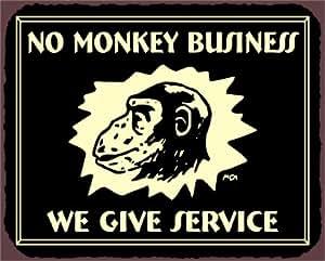 Custom Tin Sign - No Monkey Business Vintage Metal Art Automotive Retro Tin Sign - Personalized