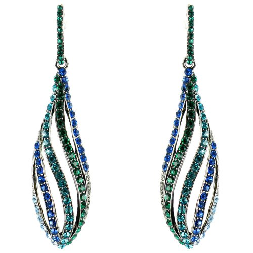 Blue And Green On Antique Silver Supermodel Catwalk Long Drop Earrings front-645887