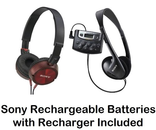 Sony Walkman Digital Tuning Palm Size AM/FM Stereo Radio with Weather Band, 20 Station Preset Memory, DX Switch for Exceptional Reception, Belt Clip, Over the Head Stereo Headphones, Pressure Relieving Studio Monitor Headphones (Red) & Sony Rechargeable B