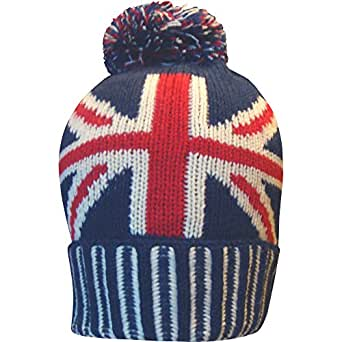 Knitting Pattern For Union Jack Hat : Mens Great Britain Union Jack Thermal Knitted Winter Beanie Bobble Hat a...