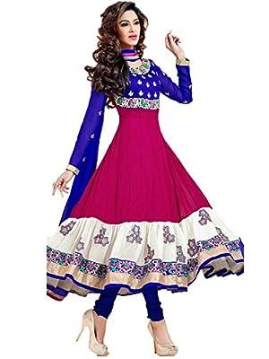 Wimberly Fashion Women's Blue Pink Georgette Semi Stitched Anarkali Dress Material WF1098