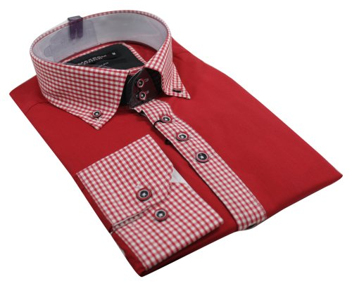 Mens Italian Button Collar Shirt Red Check Design Slim Fit Smart Casual