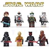8pcs/Lot STAR WARS Clone Wars Soldiers Troopers Darth Vader C-3PO Darth Maul Minifigures Figures Model Building Blocks Bricks Learning Educational Toys Gift for Children Kids
