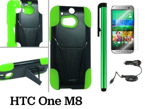 Htc One M8 Premium Heavy- Duty Kickstand Design Protector Hard Cover Case (For 2014 Htc New Flagship Android Phone) + Car Charger + Screen Protector Film + Car Charger + 1 Of New Assorted Color Metal Stylus Touch Screen Pen (Green / Black)