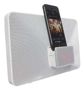 KitSound Fresh Radio Réveil Station d'Accueil Clock Radio Docking Station avec Connecteur Lightning pour iPhone 5/5S/5C/6/6 Plus/6/6 Plus, iPod Nano 7 et iPod Touch 5 - Livré avec Prise UK - Blanc