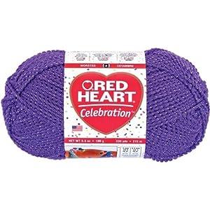 Red Heart Celebration Yarn-Purple/Silver