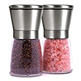 Brushed Stainless Steel Salt Mill and Pepper Grinder Set With Glass Bottle - Isa Cucina