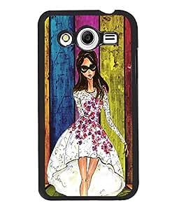 Fuson Multicolor Pattern Girl Back Case Cover for SAMSUNG GALAXY CORE 2 - D3749