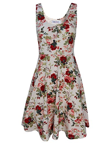 Tom's Ware Womens Casual Fit and Flare Floral Sleeveless Dress TWCWD054-WHITE-US M