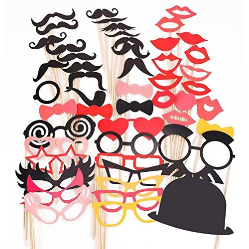 50pcs masque avec bâton pour Masquerade moustache lunettes loup