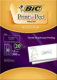 BIC Print and Peel Mailing Labels, 1 x 2.625 Inches , 30 Labels per Sheet, 12 Sheets per Package, Clear (BCL3012)