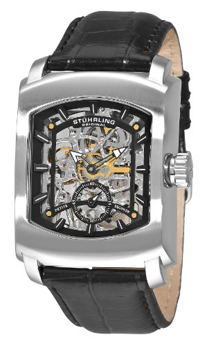 Stuhrling Original Men's 317.33151 Classic Metropolis Midtown Banker Mechanical Skeleton Black Watch