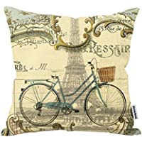 Decorbox Vintage Bike Throw Pillow Case Bicycle Cushion Cover Pillowcase Gift Anniversary Cushion Covers Paris...