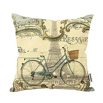 Decorbox Vintage Bike Throw Pillow Case Bicycle Cushion Cover Pillowcase Gift Anniversary Cushion Covers Paris Eiffel Tower