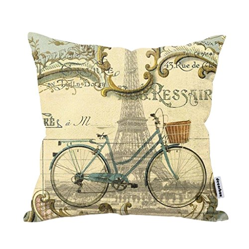 Decorbox Vintage Bike Throw Pillow Case Bicycle Cushion Cover Pillowcase Gift Anniversary Cushion Covers Paris Eiffel Tower