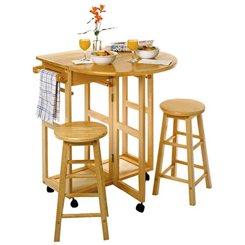 Round Solid Beech Wood Breakfast Bar, Space Saver, 3 Piece Dining Table Set